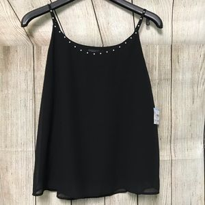 NWT Casual Black Blouse With Pearl Neckline Size M